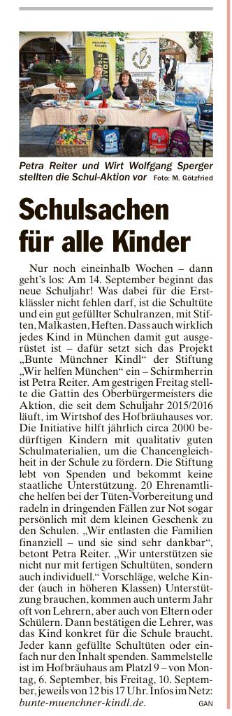 Bunte Münchner Kindl München Hilfsaktion Spendenaktion